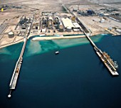 Aerial view Harbour for Liquid Natural Gas refinery, Qatar