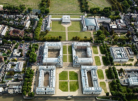 Aerial view Royal Naval College Greenwich London UK