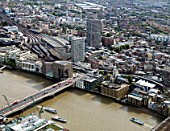 Aerial view of London Bridge, London Bridge Station, Guys Hospital and the construction site for the Shard building designed by architect Renzo Piano