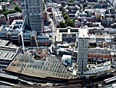Aerial view London Bridge building site for The Shard designed by Renzo Piano.