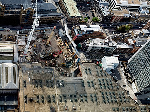 Aerial view London Bridge building site in September 2009 for The Shard skyscraper designed by Renzo