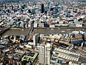 Aerial view of London Bridge Station, Guys Hospital, Thames, City of London UK