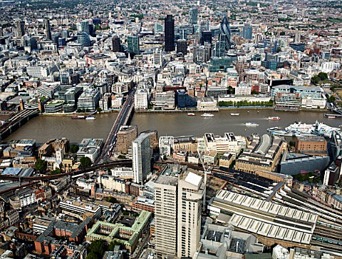 Aerial view of London Bridge Station Guys Hospital Thames City of London UK