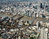 Aerial view of London Bridge,River Thames,Cannon Street Station,City of London and St Pauls Cathedral