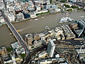 Aerial view London Bridge building site in September 2009 for The Shard skyscraper designed by Renzo Piano.