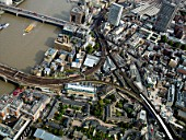 Aerial view  of London Bridge and Station, London UK