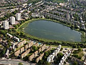 Aerial view North London reservoir and housing estates between Stratford and West Ham, London, UK.