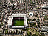 Aerial view of West Ham Football Stadium, London UK.