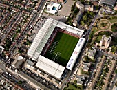Aerial view of West Ham Football Stadium, East London, UK