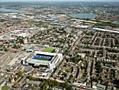 Aerial view of White Hart Lane Football Stadium, Tottenham Hotspurs, London UK