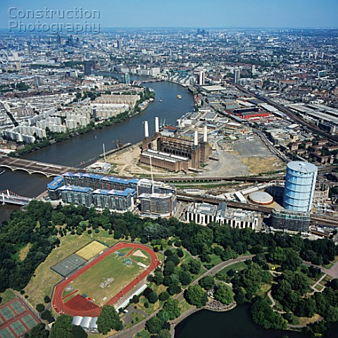 Aerial view of Battersea Power Station and Battersea Park London UK