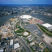 Aerial view of the O2, London, UK