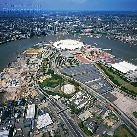 Aerial view of the O2 London UK