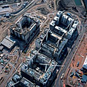Aerial view of the Olympic Village under construction, Stratford, London, UK.