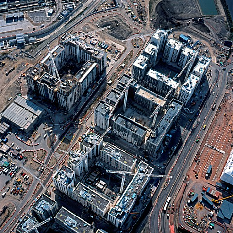 Aerial view of the Olympic Village under construction Stratford London UK
