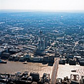Aerial view of construction of The Shard, London Bridge, UK.