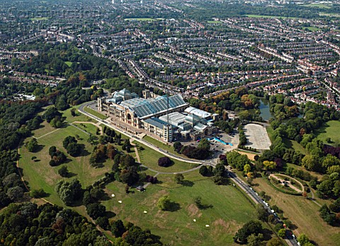 Aerial view of Alexandra Palace London UK