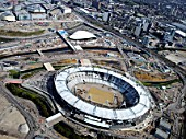 Olympic Stadium at Stratford under construction,