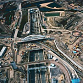 Aerial view of train station at the Olympic site, London, UK