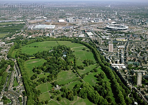 Aerial view of Victoria Park and the Olympic site London UK