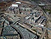 Aerial view of the Olympic site, London, UK