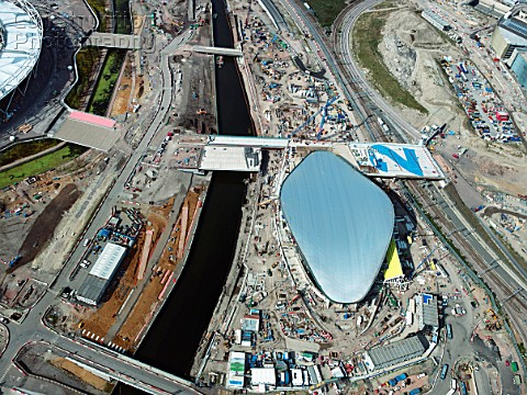 Aerial view of the Olympic site London UK