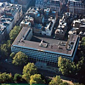 Close up aerial view of the American Embassy in London, UK