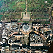 Close up aerial view of the Royal Albert Hall and Kensington Gardens, London, UK