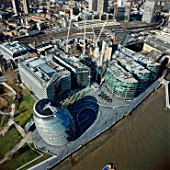 Aerial view of City Hall and the Scoop, London, UK