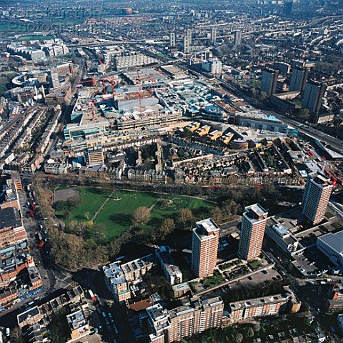 Aerial view of Westfield Shopping Centre Shepherds Bush London UK