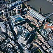 Aerial view of the Tate Modern and 123 Bankside, Southwark, London, UK