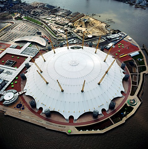 Aerial view of the O2 Arena Millennium Dome North Greenwich