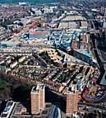 Aerial view of the construction of Westfield Shopping centre in Shepherds Bush