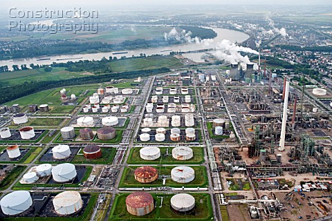 Aerial view of refinery by the River Rhine Rhein in Godorf Germany