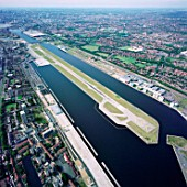 Aerial view of City Airport, London, UK.
