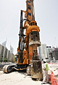 Middle East Foundations, Piling Contractor, at the MRT construction site in fron of the World Trade Center in shiekh Zayed Road, Dubai, United Arab Emirates, May 2007.