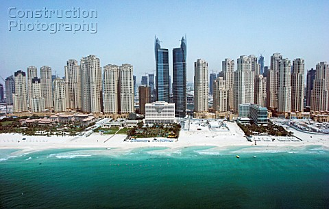 Aerial of Dubai United Arab Emirates Dubai Marina Jumeirah Beach Residence July 2007
