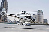 Helicopter for aerials of Dubai, United Arab Emirates. Alpha Tours & Falcon Aviation Services press conference, July 2007.