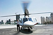 Helicopter for aerials of Dubai, United Arab Emirates, July 2007.
