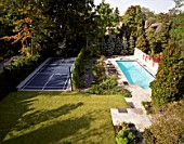 Luxury garden with swimming pool and basketball court