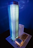 Architectural model of high-rise office building