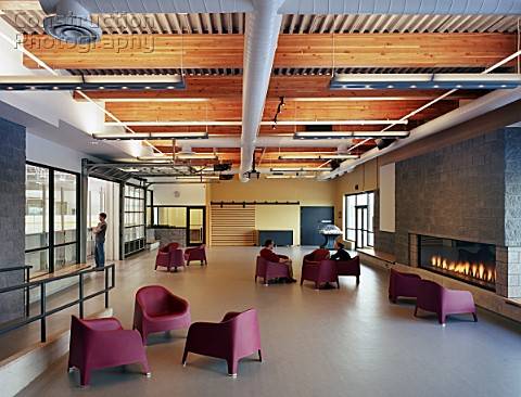 Chairs and modern fire in lobby
