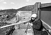A worker at the construction of a bridge, Amur-Yakut Mainline, Sakha Republic, Russia, October 1987