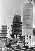 Blast furnaces under construction at the Petrovsky iron and steel works in Dnepropetrovsk, Ukraine, USSR, 1931