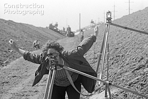 A landsurveyor using a lever during the construction of the Kakhovsky Irrigation Canal Ukraine USSR