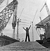Cranes at the construction of Baku deep-water platform plant, Baku, Azerbaijan, USSR, 1983