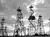 Oil derricks in Baku, Azerbaijan, USSR, 1957