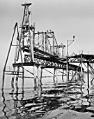Construction of new oil overpass on the Caspian coast, Azerbaijan, USSR, 1972