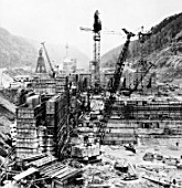 Sayany hydro power station under construction, Krasnoiarsk, Russia, 1974