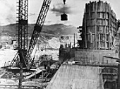 Construction of the main dam on the river Chirchik, Uzbekistan, USSR, 1936